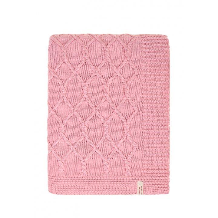 Плед вязаный хлопковый «Lux №34» (цвет: розовый; 150х200 см; 100% хлопок)