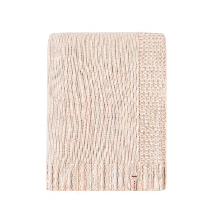 Плед вязаный хлопковый «Lux №38» (цвет: песочный; 150х200 см; 100% хлопок)