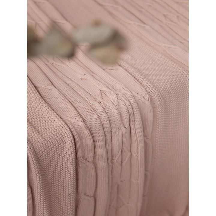 Плед вязаный хлопковый «Lux №40», цвет: пудра тон 05 (220х240 см; 100% хлопок)