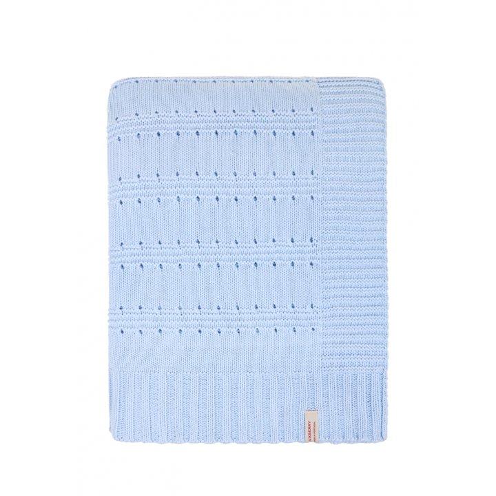 Плед вязаный хлопковый «Lux №41» (цвет: голубой; 150х200 см; 100% хлопок)