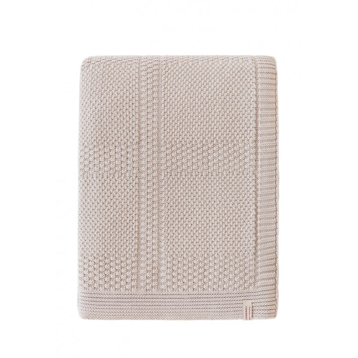Плед вязаный хлопковый «Lux №49» (цвет: песочный; 150х200 см; 100% хлопок)
