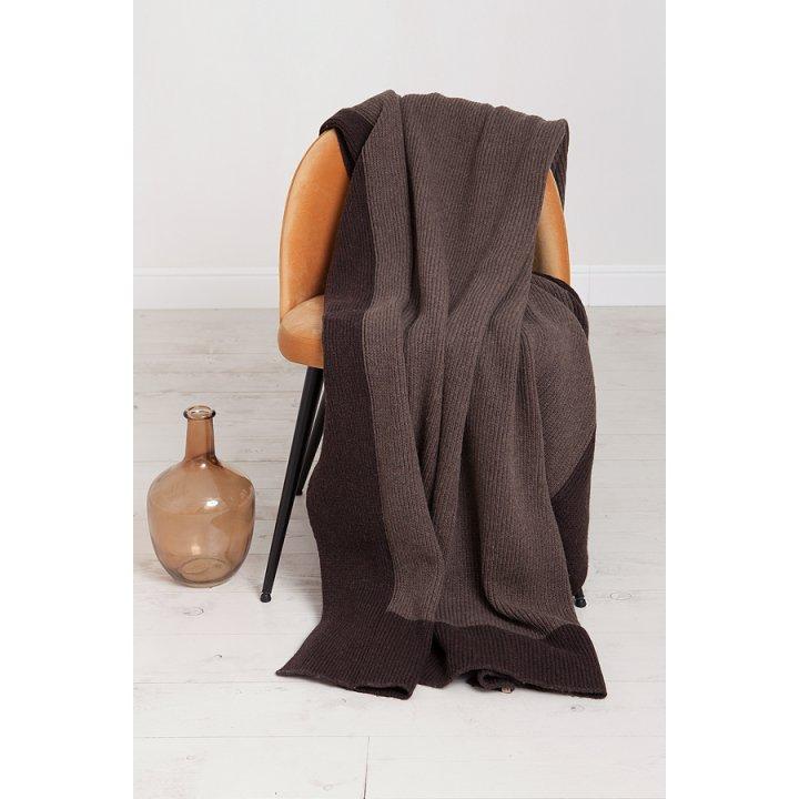 Плед вязаный шерстяной «Lux №57» (цвет: бежевый/шоколадный; 130х170 см; 70% овечья шерсть, 30% полиамид)