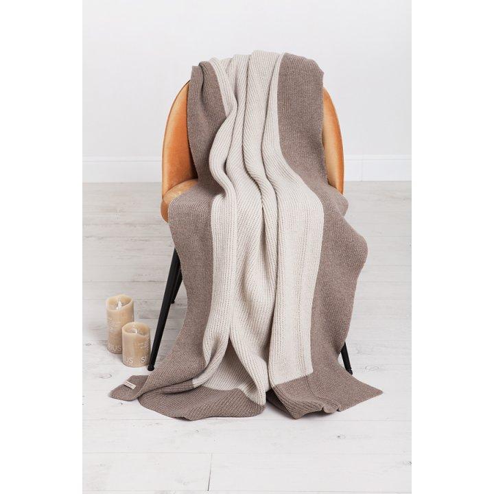 Плед вязаный шерстяной «Lux №57» (цвет: молочный/бежевый; 130х170 см; 70% овечья шерсть, 30% полиамид)