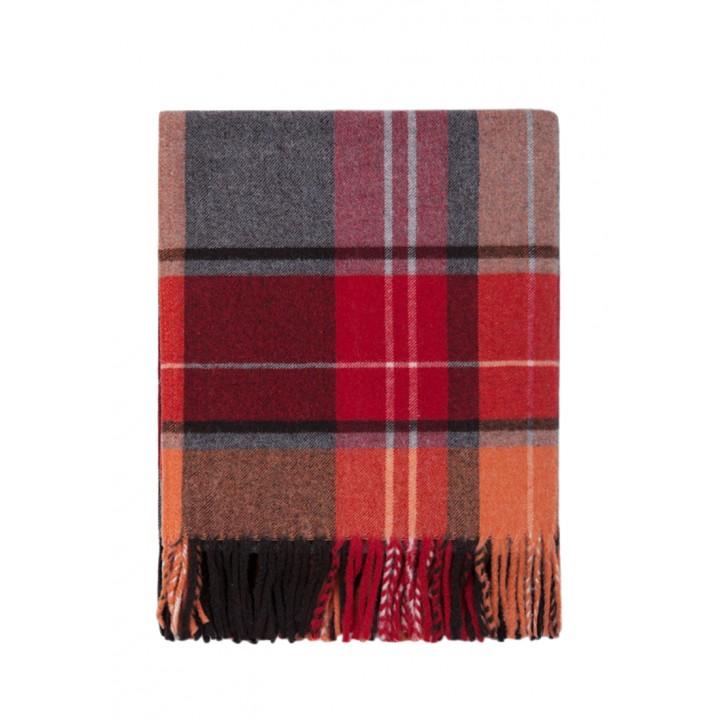 Плед шерстяной дорожный «Vandyck» (цвет: оранжевый/бордовый; 130х170 см; 70% овечья шерсть, 30% полиамид)