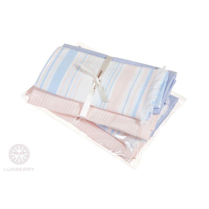 Комплект из 3 кухонных полотенец «Акварель» (цвет: розовый/сиреневый, 40x60 см - 3 шт.)