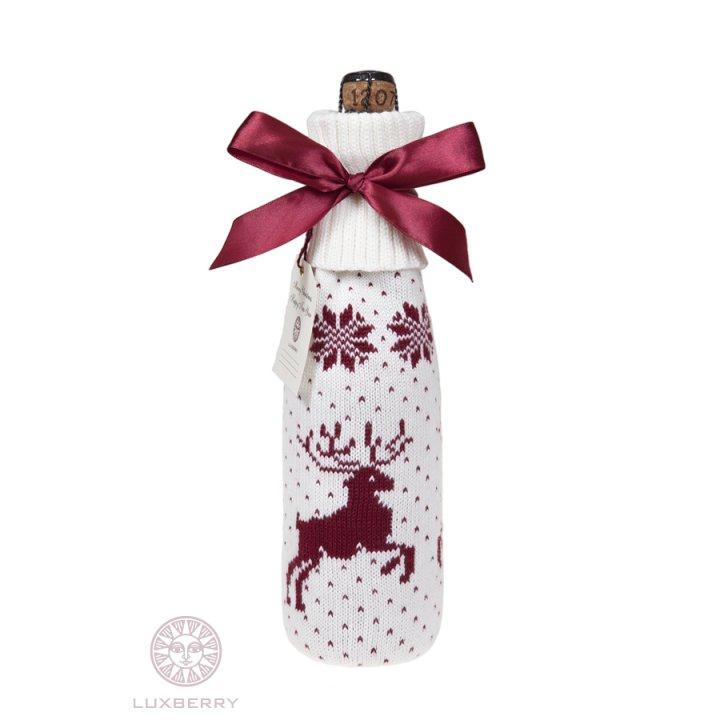Декоративный чехол на бутылку Олень (цвет: белый/бордо)
