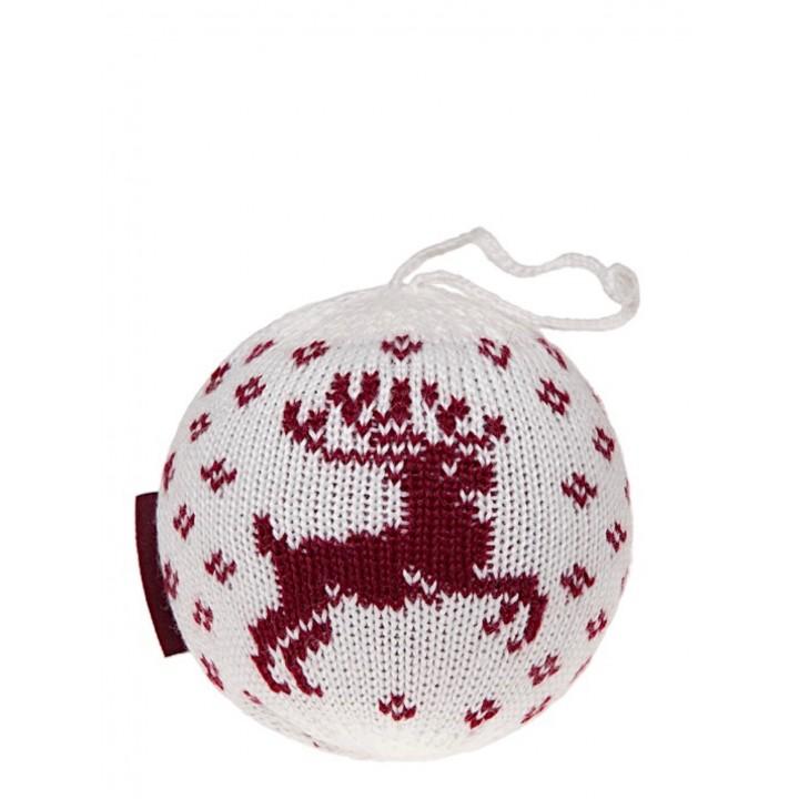 Декоративный шар «Олень» (цвет: белый/бордо; one size; 50% овечья шерсть, 50% акрил / 100% пенопласт)