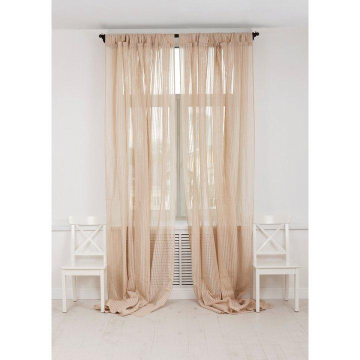 Штора на петлях «Curtain Line» (цвет: экрю, мелкая полоска, 250х310 см, лен/хлопок)