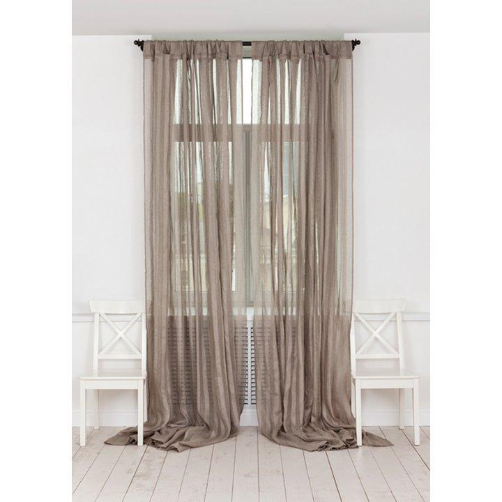 Штора на петлях «Curtain Line» (цвет: серо-бежевый, широкая полоса, 250х310 см, лен)