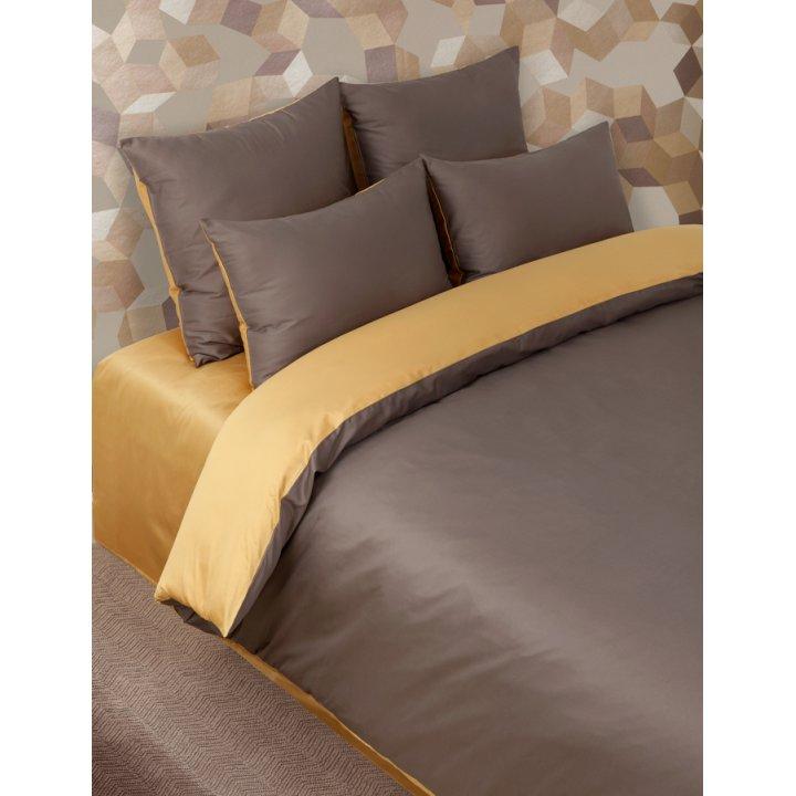 Наволочка «Duetto №5» (цвет: шоколад/золотой, 70х70 см, сатин)