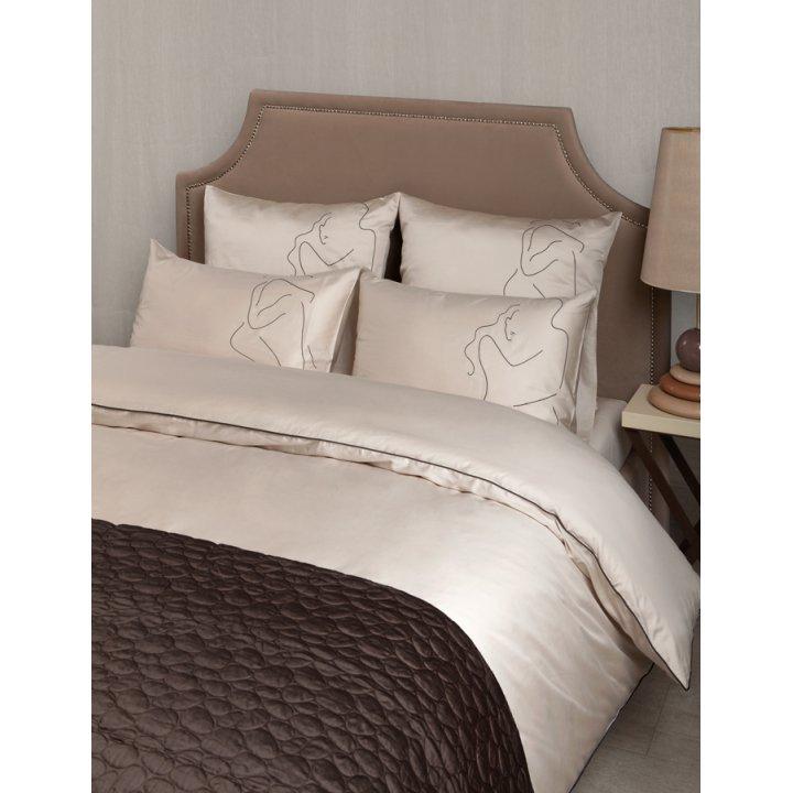 Комплект постельного белья «Etude» (цвет: песочный, 1,5 - спальный, сатин)