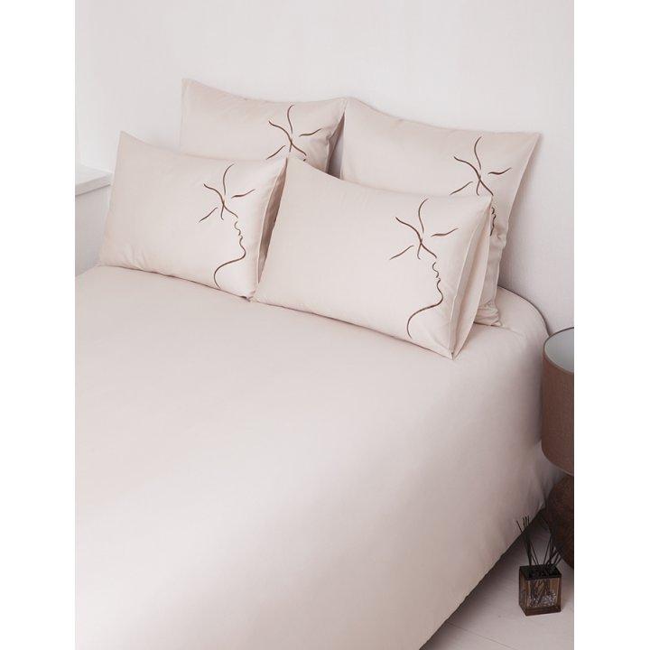 Комплект постельного белья «Kiss» (цвет: бежевый/шоколадный, 1,5 - спальный, сатин)