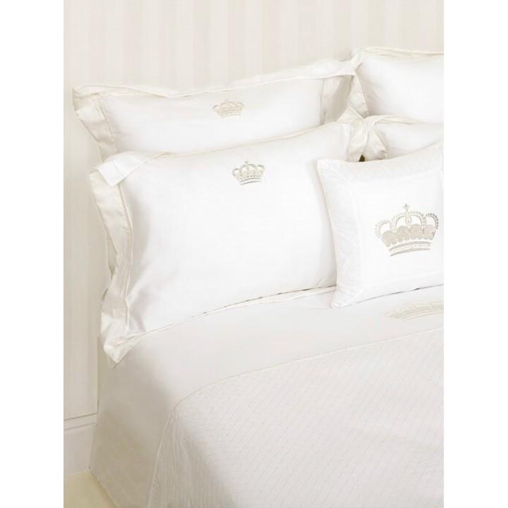 Комплект постельного белья «Queen» (цвет: белый/бежевый, евро, сатин)