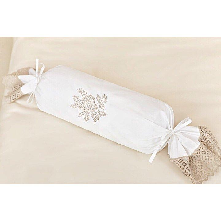 Декоративная наволочка для валика «Rose» (цвет: белый/натуральный, 28х56 см, перкаль)