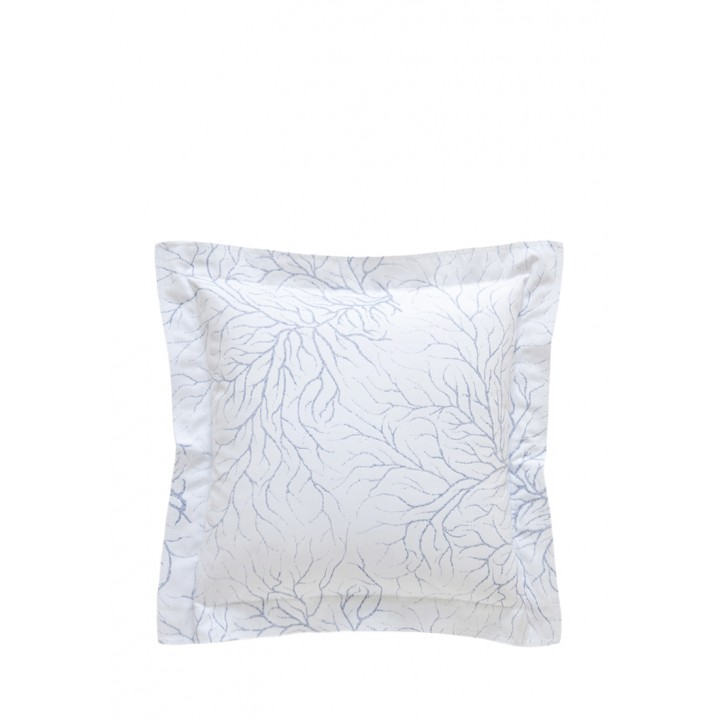 Декоративная наволочка «Coral» (47х47 см; цвет: белый/голубой; 100% хлопок)