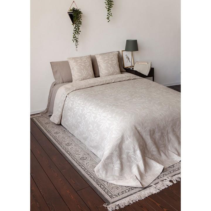 Покрывало «Sencha» (цвет: натуральный/белый; 260х260 см; 50% хлопок, 50% лен)