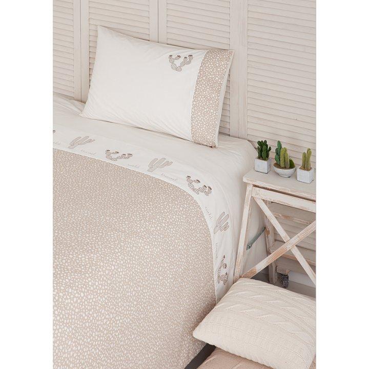 Комплект постельного белья для подростков «Wild Travel» (цвет: бежевый/песочный, 150х210 см, перкаль)