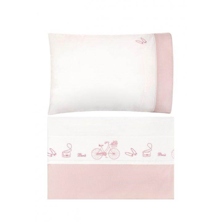 Комплект постельного белья для подростков «Paris» (цвет: экрю/розовый, 150х210 см, перкаль)