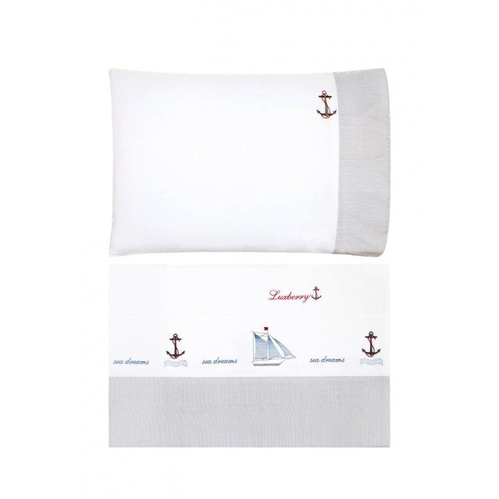 Комплект постельного белья для подростков «Sea Dreams» (цвет: белый/серый/синий, 150х210 см, перкаль)