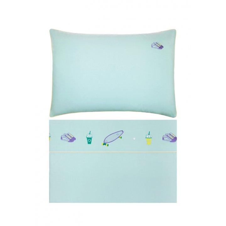 Комплект постельного белья для подростков «Skateboys» (цвет: мятный/банановый, 140х205 см, перкаль)