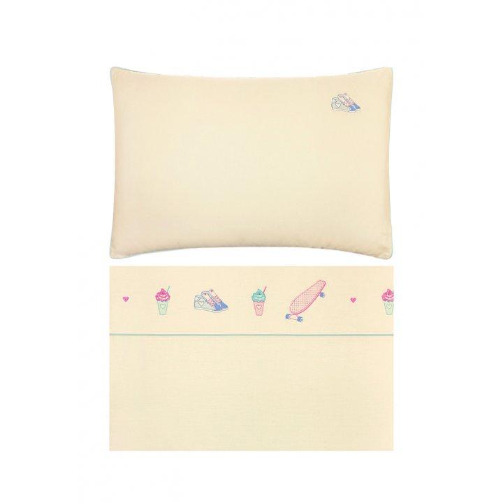Комплект постельного белья для подростков «Skategirls» (цвет: банановый/мятный, 150х210 см, перкаль)