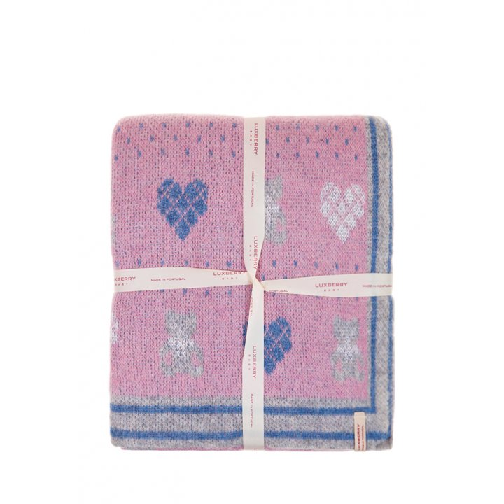 Плед детский «Lux Bear»  (цвет: розовый/голубой/серый, 100х150 см)