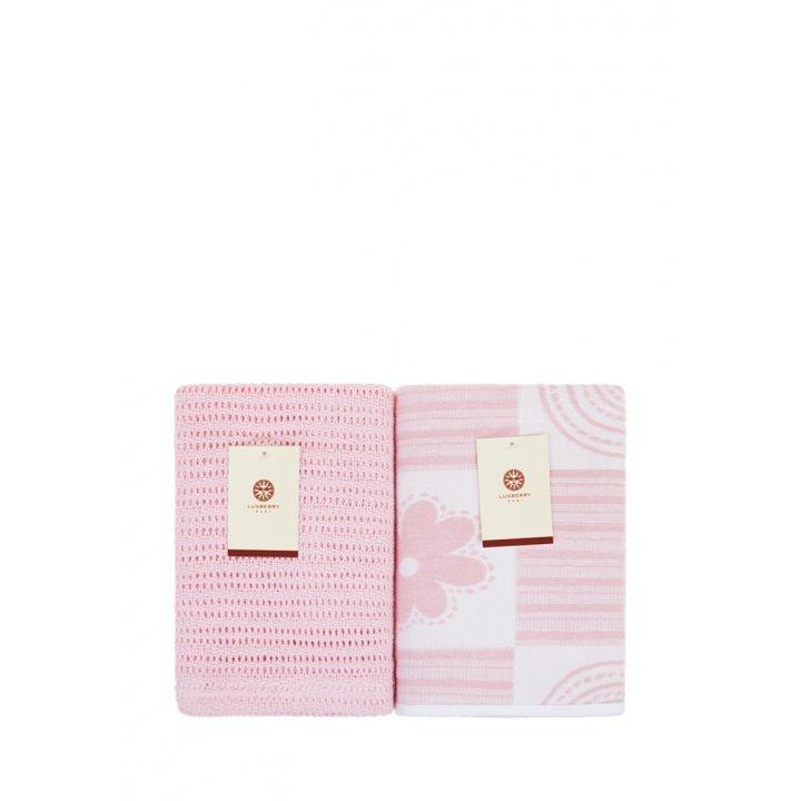 Комплект детских пледов «Lux №2287»  (цвет: розовый/белый, 75х100 см - 2 шт.)