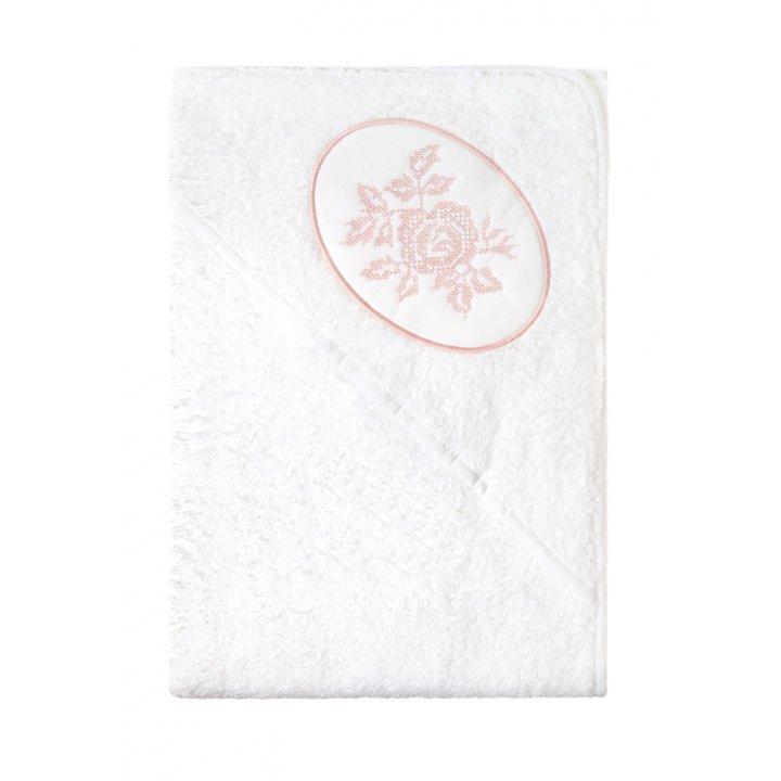 Полотенце с капюшоном «Rose» (цвет: белый/розовый, 100х100 см, махра)