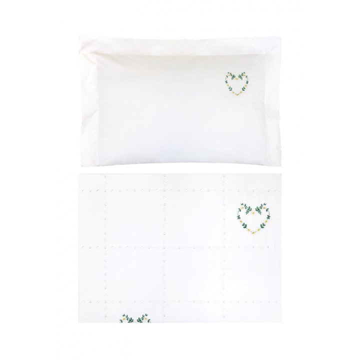 Комплект постельного белья в колыбель «Сердечки» (цвет: белый/зеленый/желтый, перкаль)