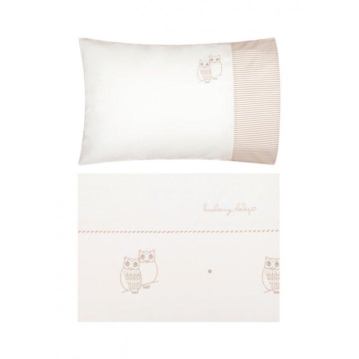 Комплект постельного белья в колыбель «Совята» (цвет: жемчужный/коричневый/белый, перкаль)