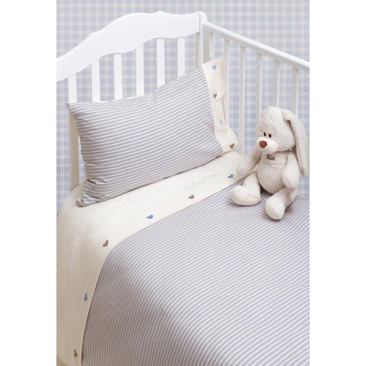 Комплект постельного белья в колыбель «Трикотаж» (цвет: голубой/экрю, трикотаж-джерси)