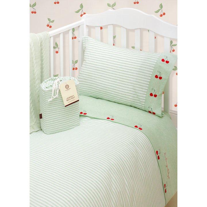 Комплект постельного белья в колыбель «Вишенки» (цвет: зеленый/белый, трикотаж-джерси)