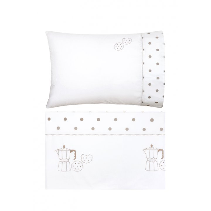 Комплект постельного белья в колыбель «Yummy» (цвет: белый/бежевый, перкаль)