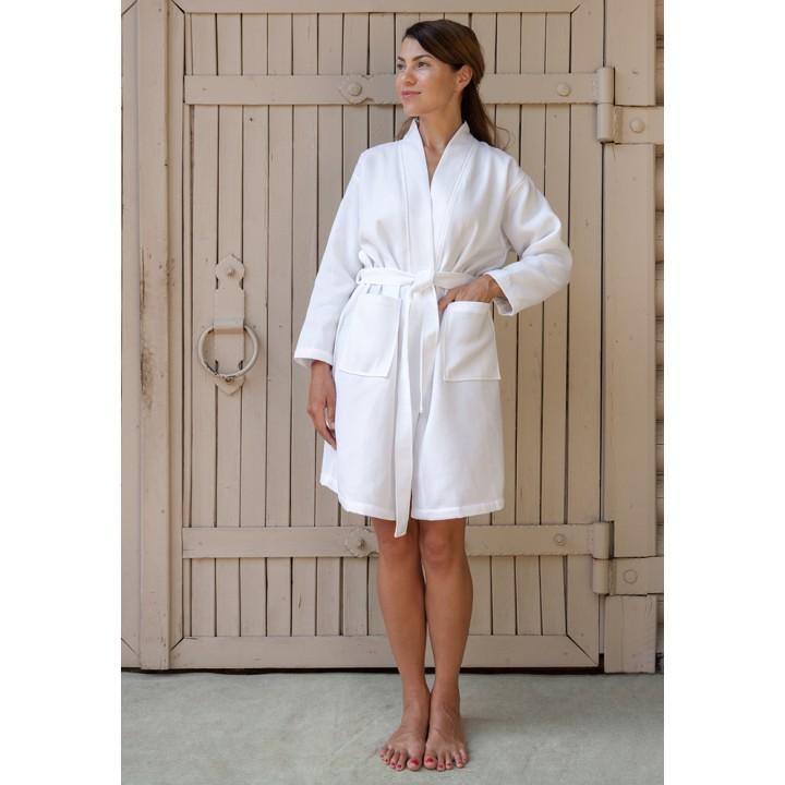Халат вафельный «Kimono New», цвет: белый (размер M (44-46); 100% хлопок)