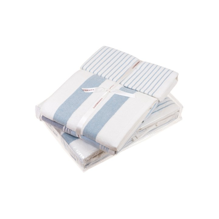 Комплект «Cottage» из 3 полотенец (цвет: белый/голубой, 30x50 см (1), 50х100 см (1), 70х140 см (1), махра)