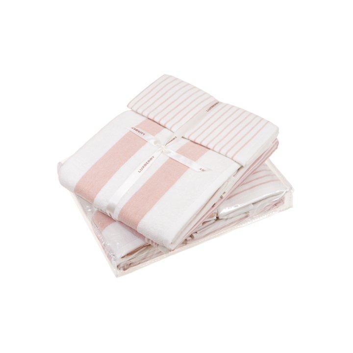 Комплект махровых полотенец «Cottage», цвет: белый/розовый (размеры: 30x50 см (1), 50х100 см (1), 70х140 см (1); махра/гладкотканая: 100% хлопок)