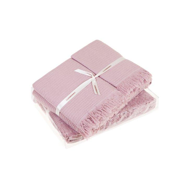 Комплект «Macaroni» из 2 полотенец (цвет: розовый, 30x50 см (1), 50х70 см (1), вафельное stonewashed)