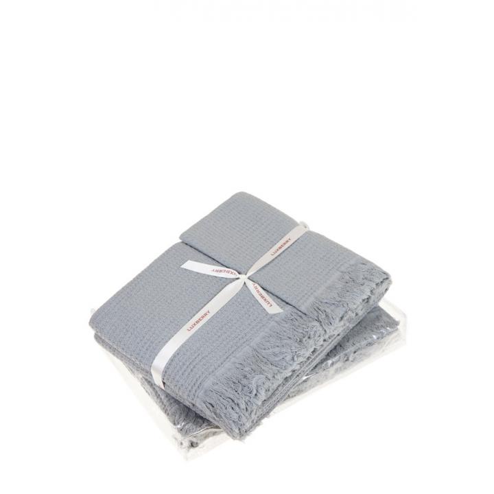Комплект вафельных полотенец «Macaroni», цвет: светло-серый (размеры: 30x50 см (1), 50х70 см (1), 80х140 см (1); вафельная ткань: 100% хлопок)