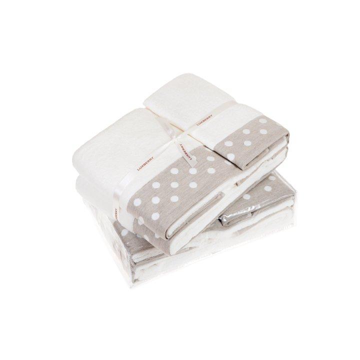 Полотенце «Pretty Dots» (цвет: белый/натуральный, 70x140 см, махра)