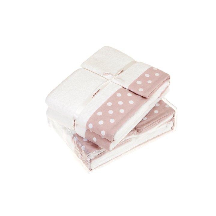 Комплект махровых полотенец «Pretty Dots», цвет: белый/розовый (размеры: 30х50 см (1), 50х100 см (1), 70х140 см (1); махра: 100% хлопок)