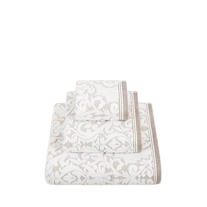 Полотенце махровое «Royal», цвет: белый/натуральный (70x140 см; жаккардовая махра: 83% хлопок, 17% лен)