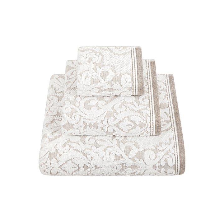 Комплект «Royal» из 3 полотенец (цвет: белый/натуральный, 30х50 см (1), 50х100 см (1), 70х140 см (1), махра)