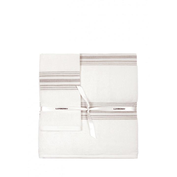 Комплект махровых полотенец «SPA №1», цвет: белый/льняной (размеры: 30х50 см (1), 50х100 см (1), 70х140 см (1); гладкотканая/махра: 97% хлопок, 3% лен)