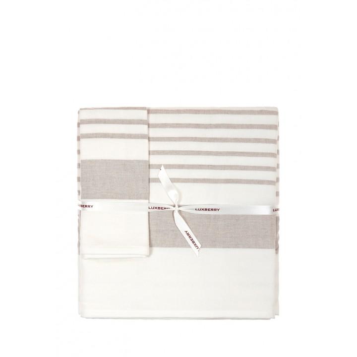 Комплект махровых полотенец «SPA №2», цвет: белый/льняной (размеры: 30х50 см (1), 50х100 см (1), 70х140 см (1); гладкотканая/махра: 97% хлопок, 3% лен)