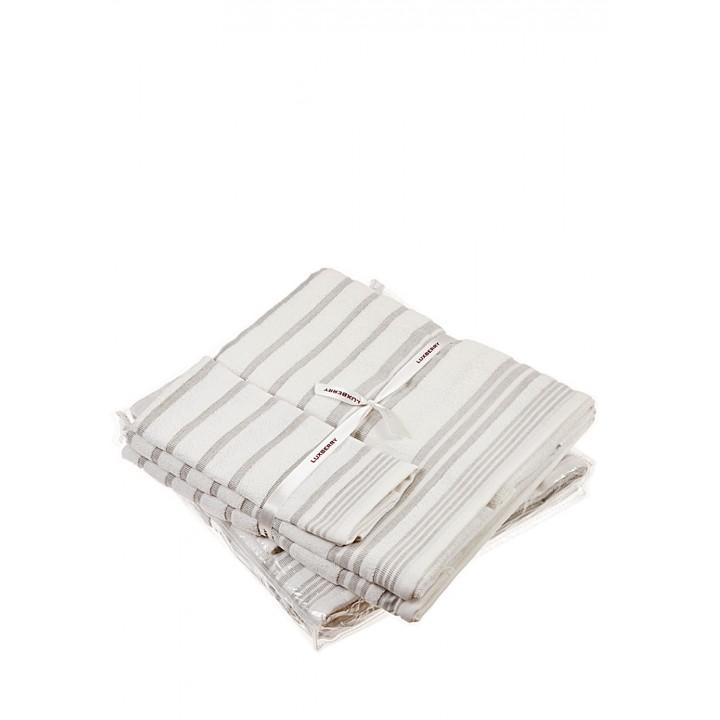 Комплект махровых полотенец «SPA №4», цвет: белый/льняной (размеры: 30х50 см (1), 50х100 см (1), 70х140 см (1); гладкотканая/махра: 97% хлопок, 3% лен)