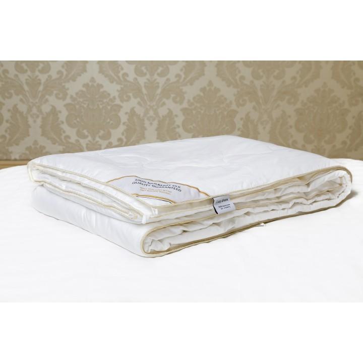 Одеяло шелковое теплое «Premium Silk» (220х240 см; наполнитель: 100% шелк Mulberry, высшая категория; чехол: сатин, 100% хлопок; цвет: белый)