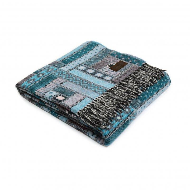 Плед шерстяной «BALTIMORA 5000» (цвет: бирюзовый, 130х180 см, шерсть мериноса)