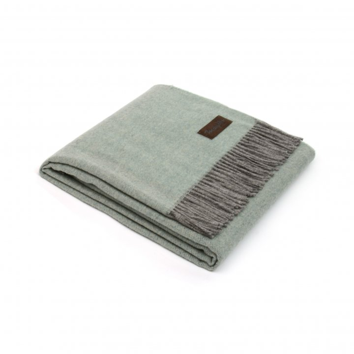Плед шерстяной «ERMES 1620» (цвет: серо-зеленый, 130х180 см, шерсть/кашемир)