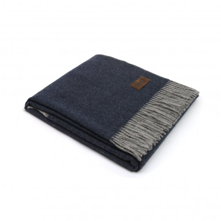 Плед шерстяной «ERMES 1640» (цвет: сине-серый, 130х180 см, шерсть/кашемир)