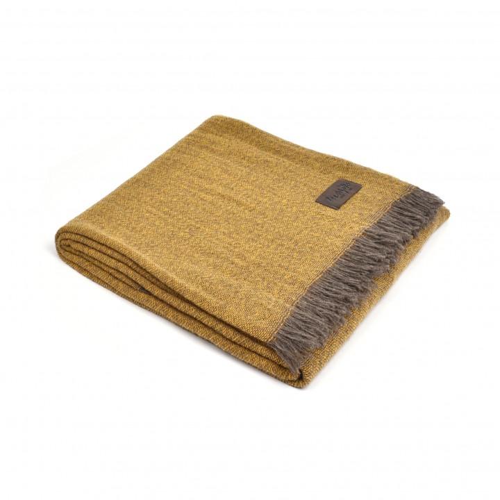 Плед кашемировый «Era №1310» (цвет: горчичный; 130х180 см; 100% кашемир)